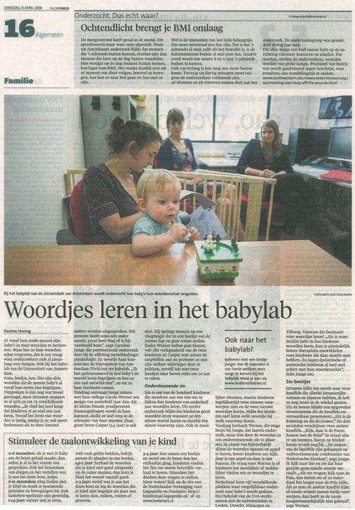 Haarlems Dagblad 8 april 2014 - Woordjes leren in het babylab