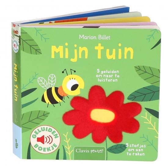 3D Boekomslag van het geluidenboekje 'Mijn tuin' van auteur Marion Billet. 'Mijn tuin' is BoekStart Babyboekje van het Jaar 2021.