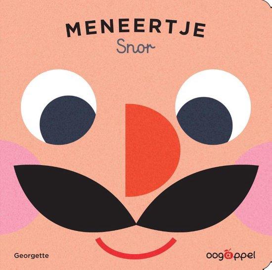 Boekomslag van het kartonboekje 'Meneertje Snor' van Georgette. Het is onze boekentip voor je dreumes van maart 2021