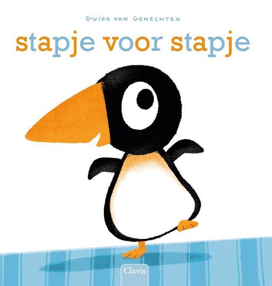 Boekomslag van het kartonboekje 'Stapje voor stapje' van Guido van Genechten.
