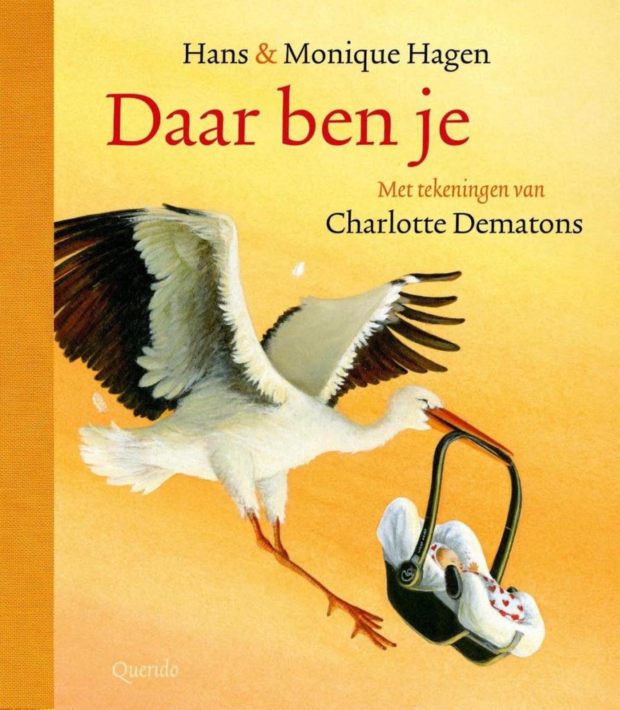Boekomslag van het poëzieprentenboek 'Daar ben je' van Hans en Monique Hagen, met tekeningen van Charlotte Dematons (Querido). Het is onze boekentip voor je peuter van april 2021.