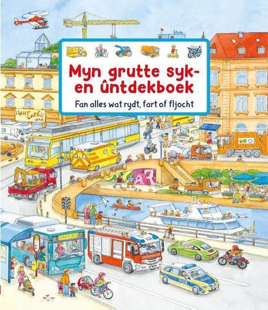 Foarkant Frysk ôfbyldingsboek 'Myn grutte syk- en ûntdekboek' troch Susanne Gernhäuser.