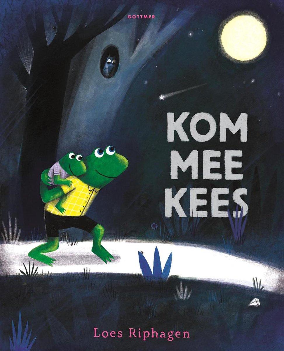 Boekomslag van het prentenboek 'Kom mee Kees' van Loes Riphagen. Het is onze boekentip voor je peuter van maart 2021