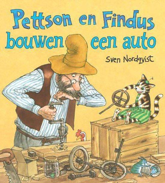 Boekomslag van 'Pettson en Findus bouwen een auto' van auteur Sven Nordqvist (Davidfonds). Het is onze boekentip voor je kleuter van mei 2021.